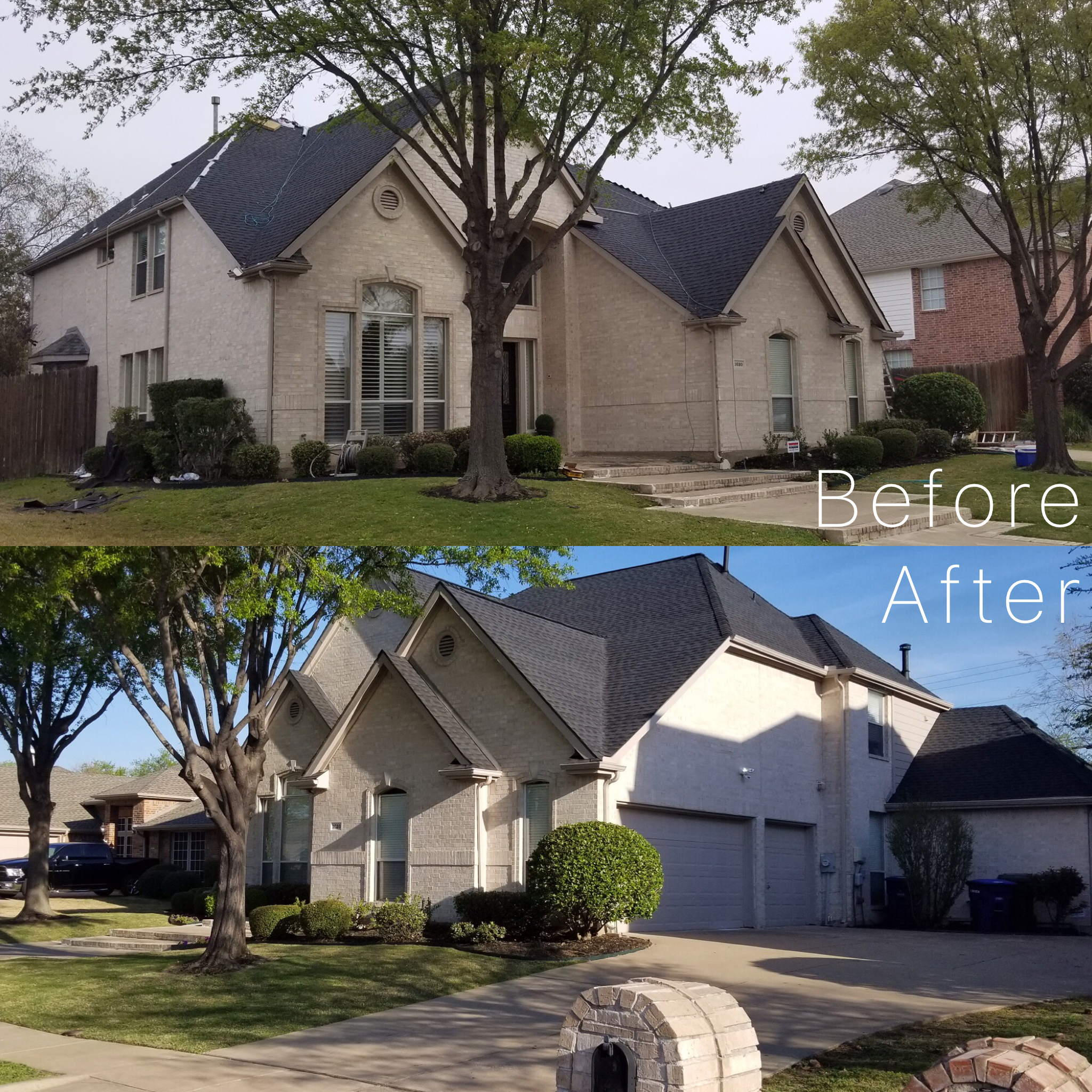 Before and after of new roof install